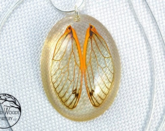 Cicada Wing Amulet, Resin Wing Jewelry, Resin Insect Jewelry, Women Insect Jewelry, Eco Resin Necklaces, Wing Necklaces, Oval Resin Jewelry