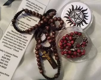 Supernatural Rosary set includes 5 different bookmarks