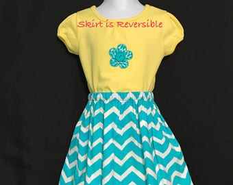 CLEARANCE!!  Toddlers Aqua & White Chevron Skirt Set; Reversible Skirt Set; Girls Chevron Skirt Set; Toddlers Skirt and Top; Girls Skirt