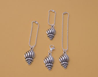 Shell planner charm, tulip, conch style, for TN, Travelers, zip, bracelet, pendant, handbag, purse. Tibetan silver charm with SP fittings.
