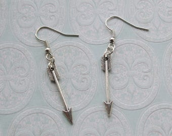 Arrow charm drop earrings