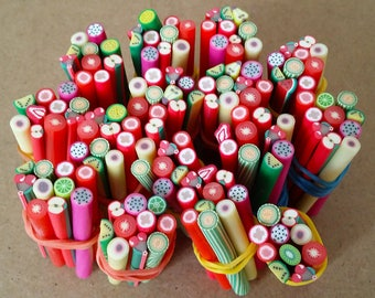 Set of 10 rods in Fimo FRUITS and vegetables for scrapbooking, nail art, jewelry making and other creative work.