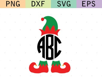 Elf Monogram Frame Christmas svg dxf cut file instant download digital download silhouette cricut red and green kids