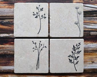 Herb Stone Coaster, Plant Coasters, Gift for Mom, Nature Lover Gift, Gardener Gift, Grandmother Gift, Easter Coasters,  Herb Coasters