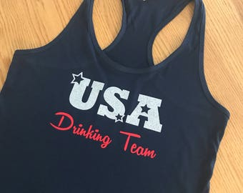 USA Drinking Team Women's Tank Tank Top //Fourth of July // Drinking Team // USA // Independence Day