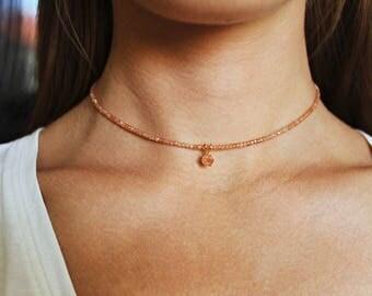 Sunstone Necklace, Sunstone Choker, Sunstone Jewelry, Sunstone Jewellery, Crystal Choker, Orange Necklace, Beaded Necklace, Beaded Choker