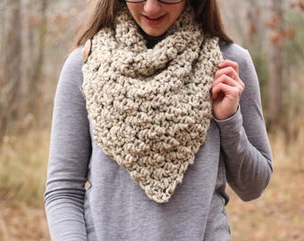Chunky Cowl // Oversized Cowl // Chunky Knit Cowl // Chunky oversized  // Crochet Triangle Scarf // Button Scarf // Made To Order