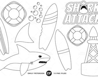 50% OFF SALE! Shark Attack Digital Stamps, Shark Fin Line Art, Ocean Clip Art - Commercial Use, Instant Download