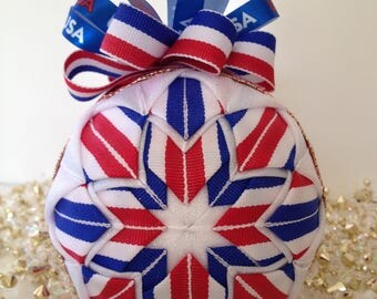 Hand-Crafted Quilted Ornament - American Star