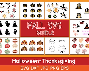 Fall svg Bundle, pack of 10, Halloween Thanksgiving clip artt monogram frame, for CriCut Silhouette cameo Files svg jpg png dxf