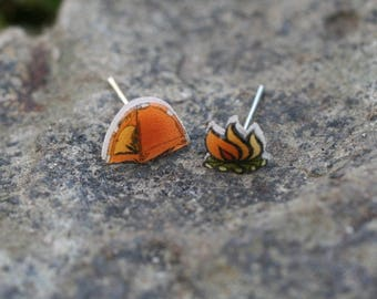 Tiny mismatch 'Tent and camp fire' stud earrings, handmade