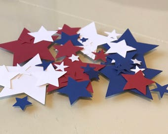 Red, White & Blue Stars Party Confetti / Various Sizes / 4th of July / Independence Day / Summer BBQ Decor / Party Decorations