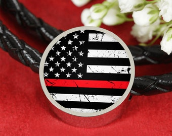 Red Lives Matter Bracelet Charm Fire Department Fireman Pendant Red American Flag Stars Stripes Red Lives Gift Thin Red Line For Firefighter