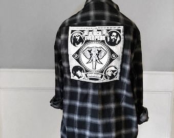 The Black Eyed Peas Flannel Tee Elephunk Black Eyed Peas concert tshirt unisex large new black plaid flannel shirt