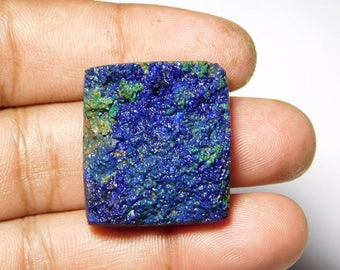 Rare Collection Of  Very Rare & Gorgeous Azurite Malachite Druzy Very High Quality Cabochon,Natural Loose Gemstone 90Cts.(30X26)