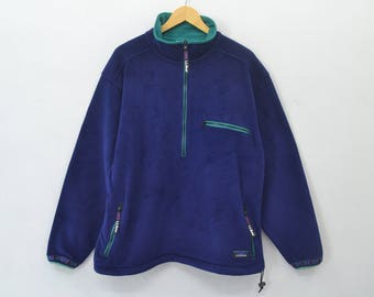 L.L.Bean Made in USA Sweater Vintage 90's L.L.Bean Anorak Aztec POLARTEC WINDBLOC Series Half Zipper Fleece Sweater Jacket Size L