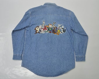 LOONEY TUNES Shirt Vintage Looney Tunes Characters Embroidery Logo Vintage Denim Retro Button Down Shirt Size M