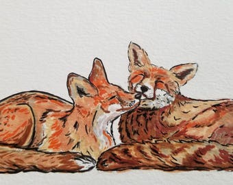 Snuggling Foxes 5×7  Art Print / Great gift for Mom / Custom quotes added to make it perfect / Professionally printed fox picture
