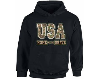 USA Home of the Brave Hoodie  USA Hooded Sweatshirts Patriotic  Camo 4th of July fourth of july