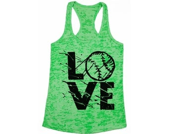 LOVE Baseball Burnout Racerback Tank Tops for Workout Fitness Tank Top Sport Lover Gift Baseball Love Player Sports Perfect for Gym and Yoga