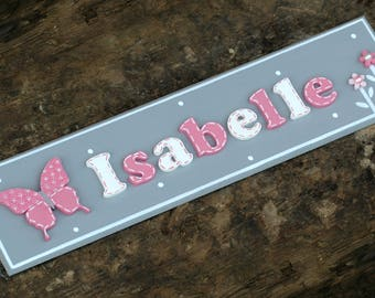 Pretty BUTTERFLY * PERSONALISED * Name Plaque Door Sign Girl Baby Room Nursery