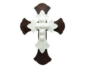 """Large 12.5"""" x 17"""" Brown White Layered Wall Cross Hanging Unique Decorative Antique Distressed Rustic Décor for Decorating  Art Crosses"""