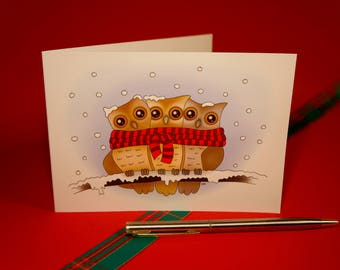 Three owls in the Snow | Card