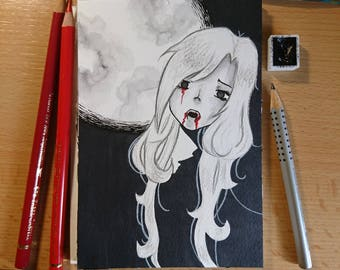 "Drawlloween original art ""Vampire"" (postcard)"