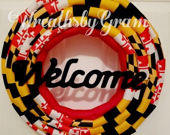 Flag Wreath; Maryland Flag; Front Door Wreath; Primitive Patriotic; Everyday Wreath; Maryland Decor; Gift for Him; Maryland Souvenir; Gifts