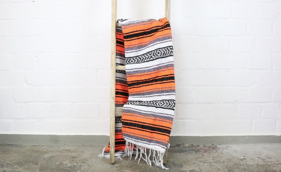 "Large traditional woven blanket from Mexico 180 x 130 cm Orange ""Falsa"""