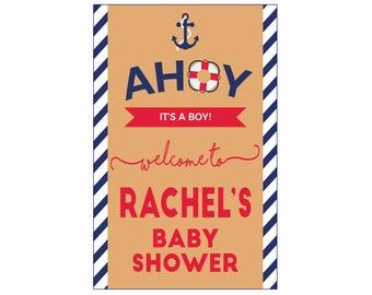 Ahoy Nautical Baby Shower Banner 2'x3' // Nautical Theme Baby Shower // Custom Baby Shower // Boy Baby Shower Decor