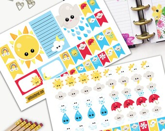 Weather Tracker Theme Planner Weekly Sticker SMALL Kit, CLASSIC Happy Planner Sticker, Weekly Set, Stickers, Printed, Cut, Forecast, Tracker