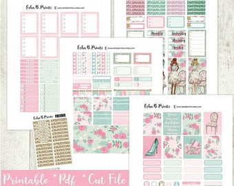 Blossom Printable Planner Stickers/Weekly Kit/For Use with Erin Condren/Cutfile Fall September Glam Pink Floral Glitter Glam Flowers