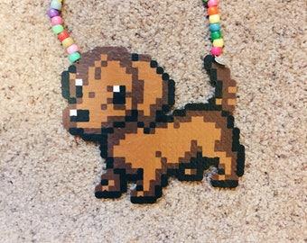 wiener dog dachshund perler kandi necklace