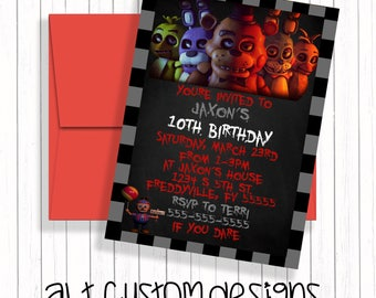 Five Nights at Freddy's Invitation  - Printable - Five Nights at freddys birthday invitation