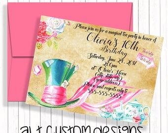 Tea Party Invitation - Tea Party Birthday Invitation - Mad Hatter Birthday Invitation - Alice in Wonderland Birthday Invitations