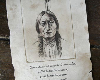 """""""Sitting Bull"""" (Indian Chief) Reproduction A4 parchment + quote"""