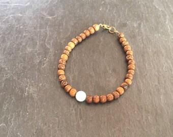 Gemstone bracelet amazonite and wooden bronze clasp.