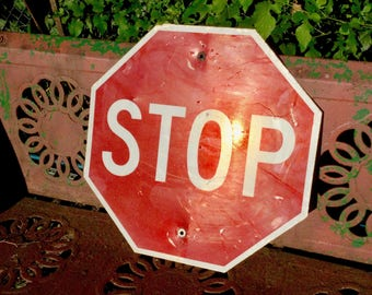 Metal Stop Sign Road Traffic Sign Octagon Urban Wall Art