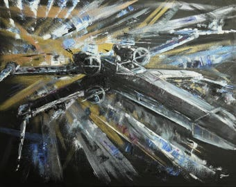 Star Wars X-wing Painting - 40x50cm Box Canvas - Ready to hang