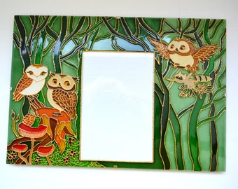 Glass Picture Frame.Glass Frame.Hand Painted Frame.Decorative Frame.Photo Frame.Photo frame animals. Photo frame owl. Photo frame wood