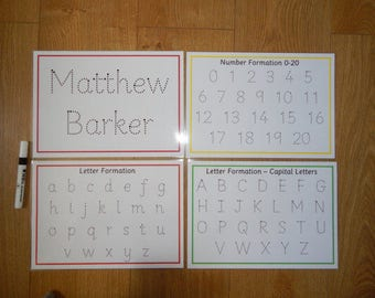 SALE Tracing Letters, Numbers, Name - A4 laminated wipe clean mats, reusable mats - Handwriting practise, EYFS, Early learning