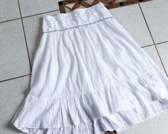 Vintage White Embellished Midi Skirt