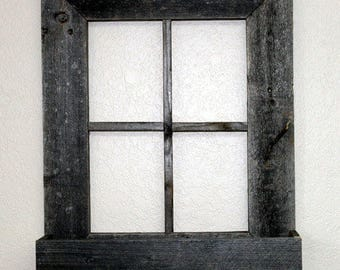 "Window Frame w/ Flower Box 22"" x 18"" Rustic Reclaimed Distressed Barn Wood"