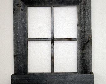 "Framed Wood Window | Wood Window Frame w/ Flower Box 22"" x 18"" Rustic Reclaimed Distressed Barn Wood"