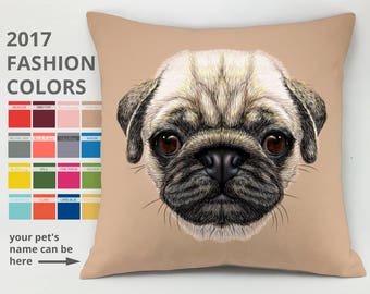 Pug pillow case pet lover gift animal pillow pug cushion pug bed dog bed cover dog cushion mops pillow Decorative Pillow Cover Throw pillow