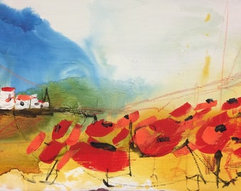 Landscape poppies, Red painting
