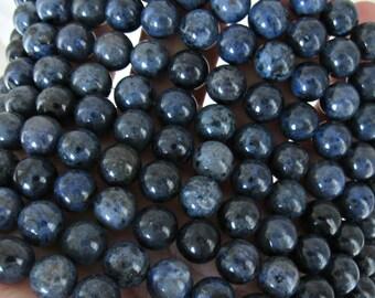 8mm Dumortierite beads, full strand, blue Dumortierite, navy blue beads, A quality, Denin blue beads, beads for malas, bracelet beads
