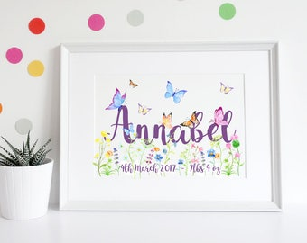 New Baby Gift, Christening Gift, Baby Girl Gift, 1st Birthday Gift, Daughter gift, Nursery decor, Butterflies, Watercolour butterfly print
