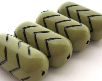 4 Vintage Lucite Beads, Olive Black, Tribal Barrel Beads, 30 mm, Moss Green Zig Zag Chevron Beads, Boho Beads, W German Beads, Bead Destash